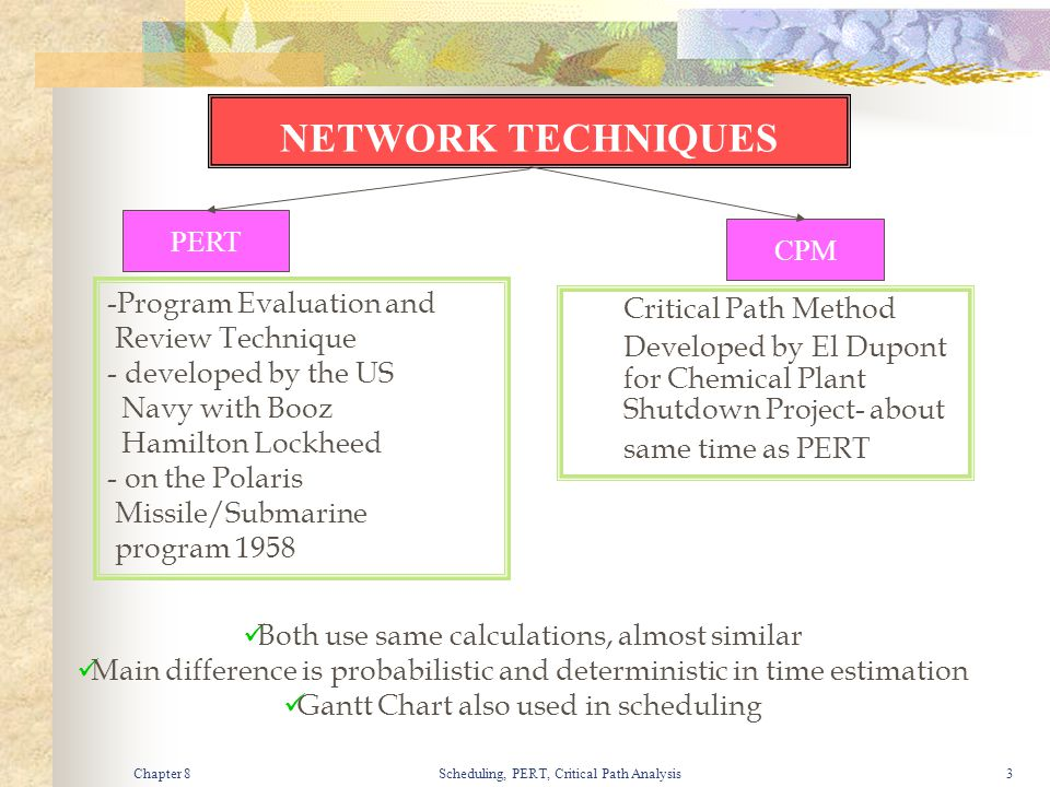 Chapter 8Scheduling, PERT, Critical Path Analysis3 NETWORK TECHNIQUES PERT CPM -Program Evaluation and Review Technique - developed by the US Navy wit