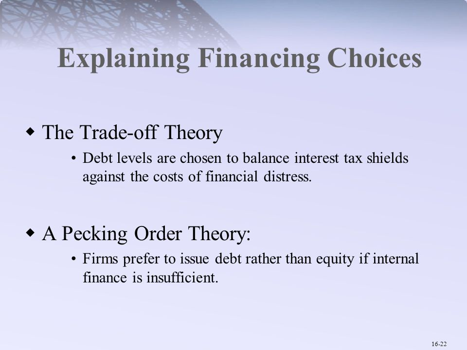 16-22 Explaining Financing Choices  The Trade-off Theory Debt levels are chosen to balance interest tax shields against the costs of financial distress.