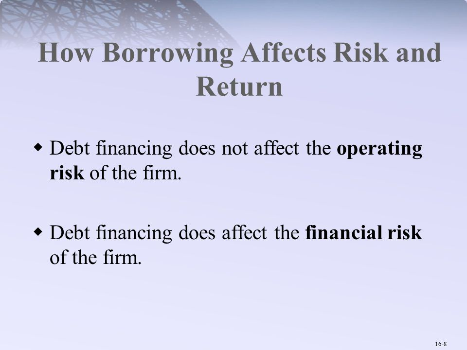 16-19 Costs of Financial Distress Investors factor the potential for future distress into their assessment of current value.