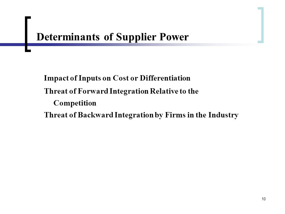 10 Determinants of Supplier Power Impact of Inputs on Cost or Differentiation Threat of Forward Integration Relative to the Competition Threat of Back
