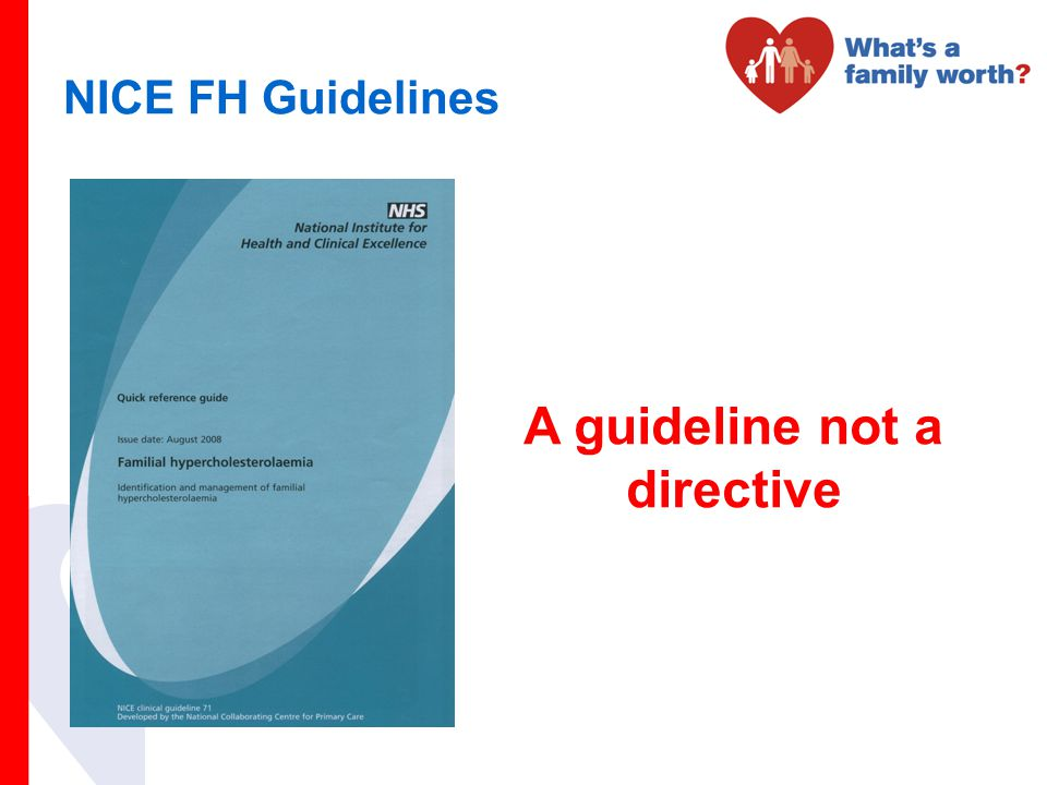 NICE FH Guidelines A guideline not a directive