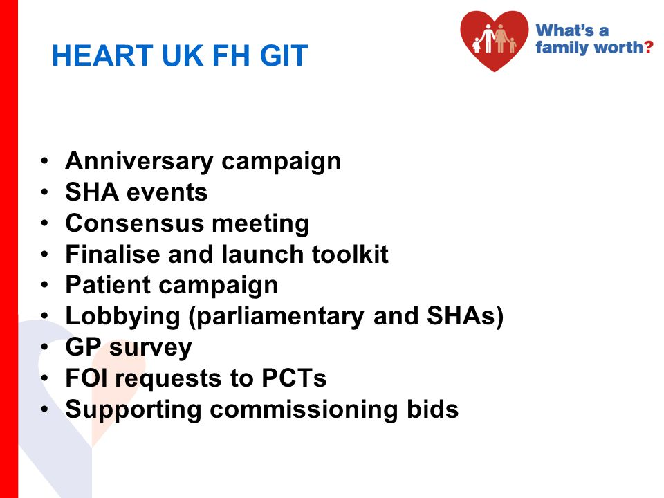 HEART UK FH GIT Anniversary campaign SHA events Consensus meeting Finalise and launch toolkit Patient campaign Lobbying (parliamentary and SHAs) GP su