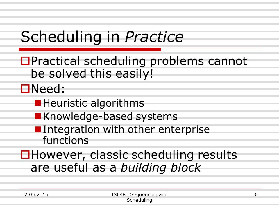 6 Scheduling in Practice  Practical scheduling problems cannot be solved this easily.