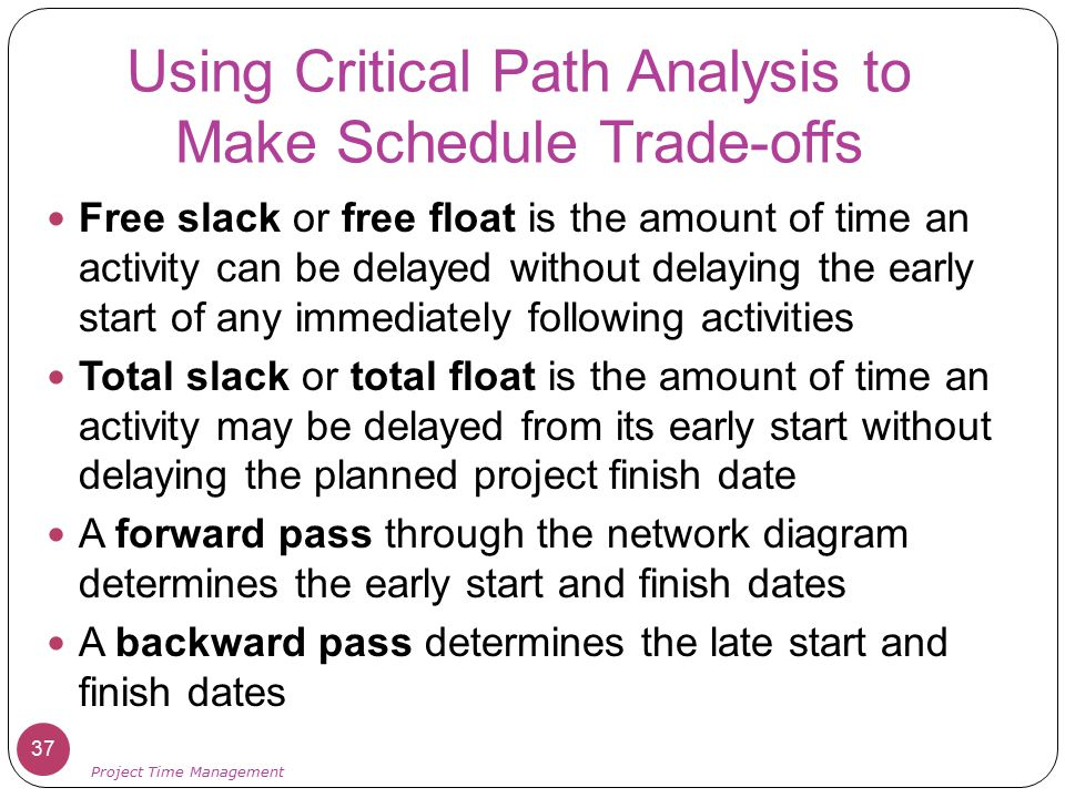 Using Critical Path Analysis to Make Schedule Trade-offs Free slack or free float is the amount of time an activity can be delayed without delaying th