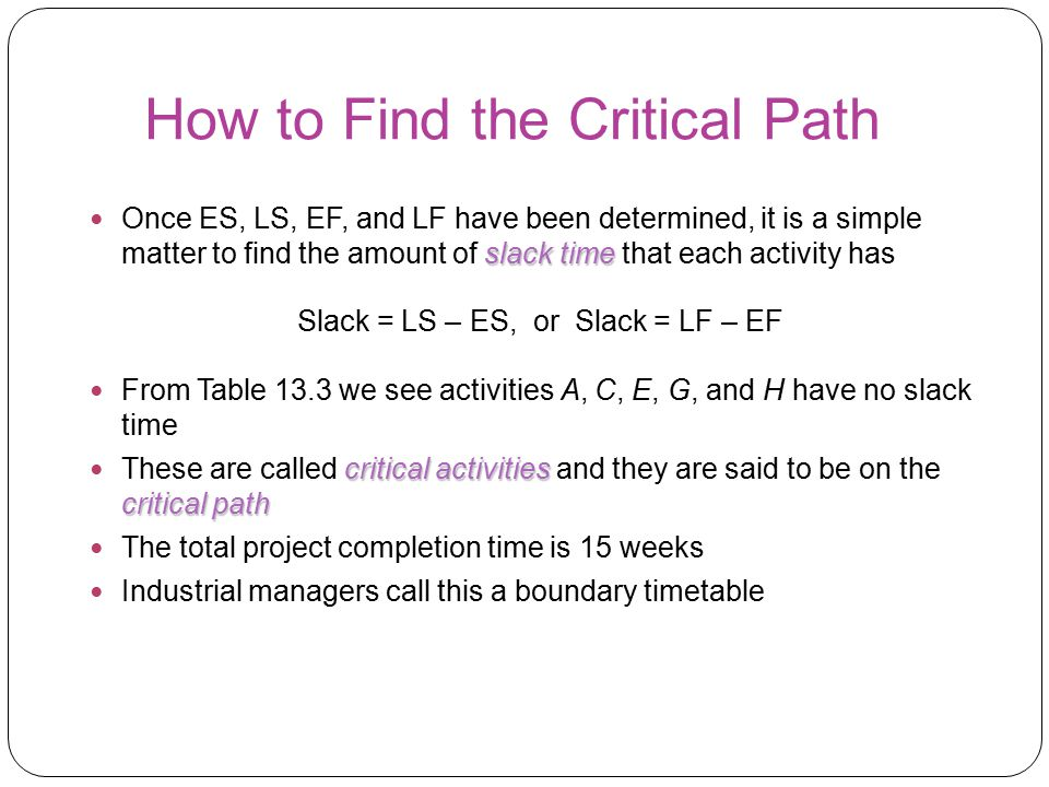How to Find the Critical Path slack time Once ES, LS, EF, and LF have been determined, it is a simple matter to find the amount of slack time that eac