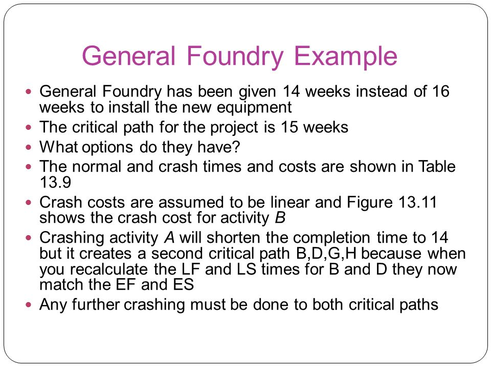 General Foundry Example General Foundry has been given 14 weeks instead of 16 weeks to install the new equipment The critical path for the project is