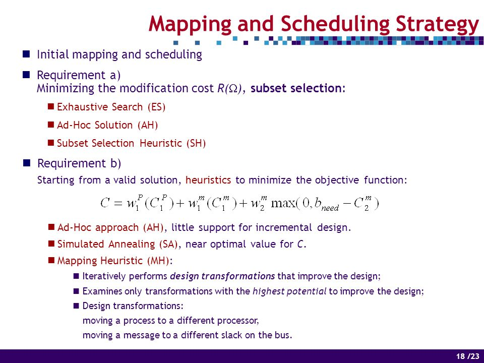 18 of 14 18 /23 Mapping and Scheduling Strategy Initial mapping and scheduling Requirement a) Minimizing the modification cost R(  ), subset selection: Exhaustive Search (ES) Ad-Hoc Solution (AH) Subset Selection Heuristic (SH) Requirement b) Starting from a valid solution, heuristics to minimize the objective function: Ad-Hoc approach (AH), little support for incremental design.