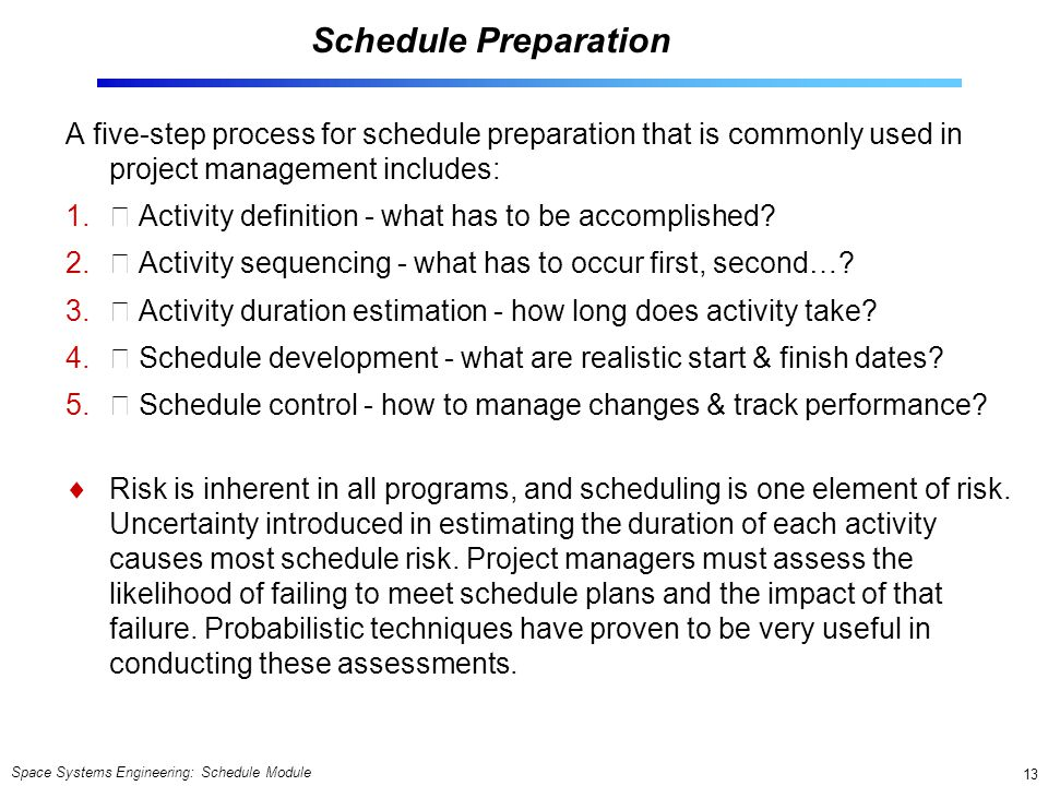Space Systems Engineering: Schedule Module 13 Schedule Preparation A five-step process for schedule preparation that is commonly used in project manag