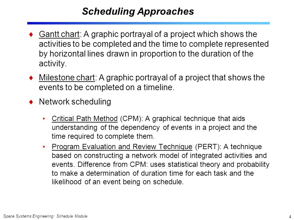 Space Systems Engineering: Schedule Module 4 Scheduling Approaches  Gantt chart: A graphic portrayal of a project which shows the activities to be co