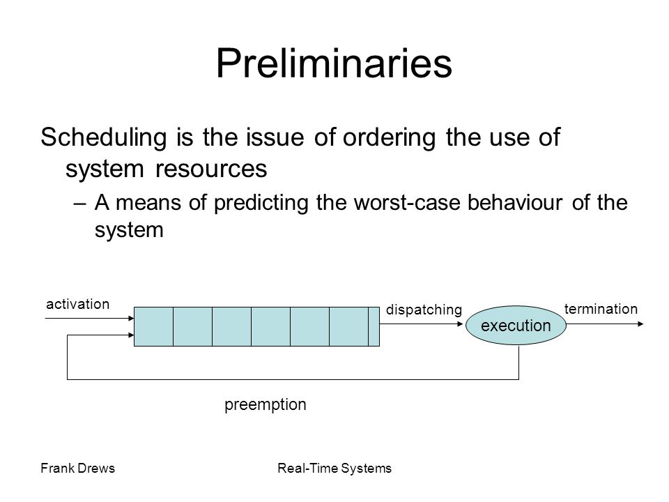 Frank DrewsReal-Time Systems Non-Real-Time Scheduling Primary Goal: maximize performance Secondary Goal: ensure fairness Typical metrics: –Minimize response time –Maximize throughput –E.g., FCFS (First-Come-First-Served), RR (Round-Robin)
