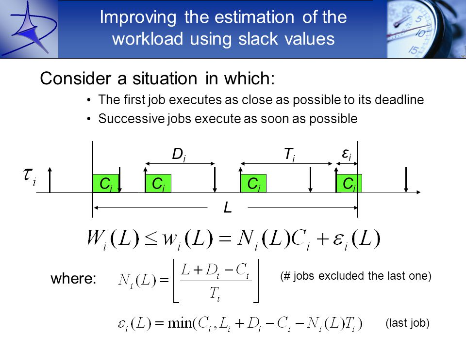 Improving the estimation of the workload using slack values Consider a situation in which: The first job executes as close as possible to its deadline Successive jobs execute as soon as possible where: CiCi L DiDi CiCi CiCi CiCi TiTi εiεi (# jobs excluded the last one) (last job)