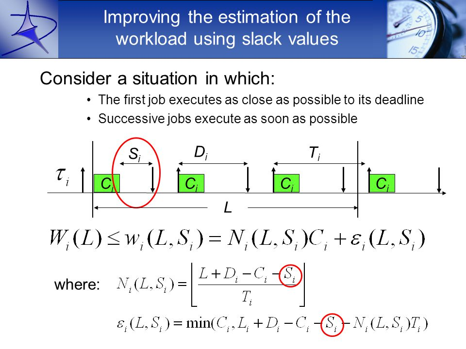 Improving the estimation of the workload using slack values Consider a situation in which: The first job executes as close as possible to its deadline Successive jobs execute as soon as possible where: CiCi L DiDi CiCi CiCi CiCi TiTi SiSi