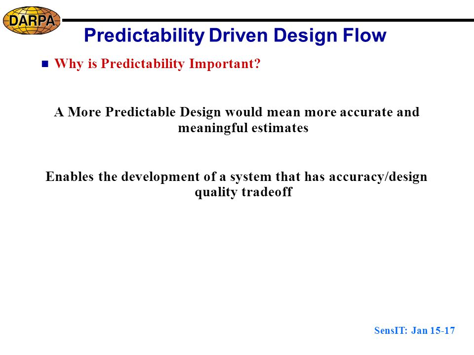 SensIT: Jan 15-17 Predictability Driven Design Flow Why is Predictability Important.
