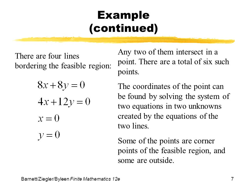 7Barnett/Ziegler/Byleen Finite Mathematics 12e Example (continued) There are four lines bordering the feasible region: Any two of them intersect in a