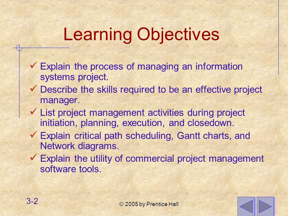 © 2005 by Prentice Hall 3-2 Learning Objectives Explain the process of managing an information systems project.