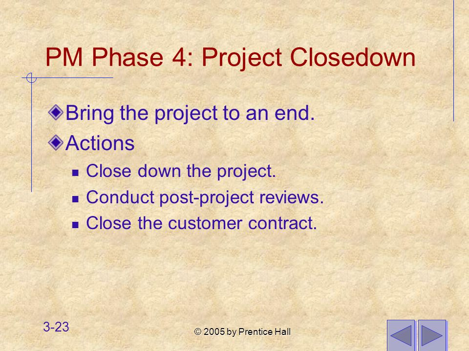 © 2005 by Prentice Hall 3-23 PM Phase 4: Project Closedown Bring the project to an end.
