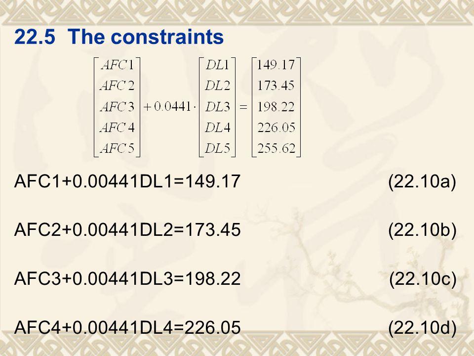 AFC1+0.00441DL1=149.17 (22.10a) AFC2+0.00441DL2=173.45 (22.10b) AFC3+0.00441DL3=198.22 (22.10c) AFC4+0.00441DL4=226.05 (22.10d)