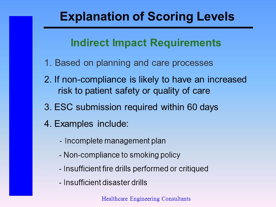 Explanation of Scoring Levels Healthcare Engineering Consultants Indirect Impact Requirements 1. Based on planning and care processes 2. If non-compli