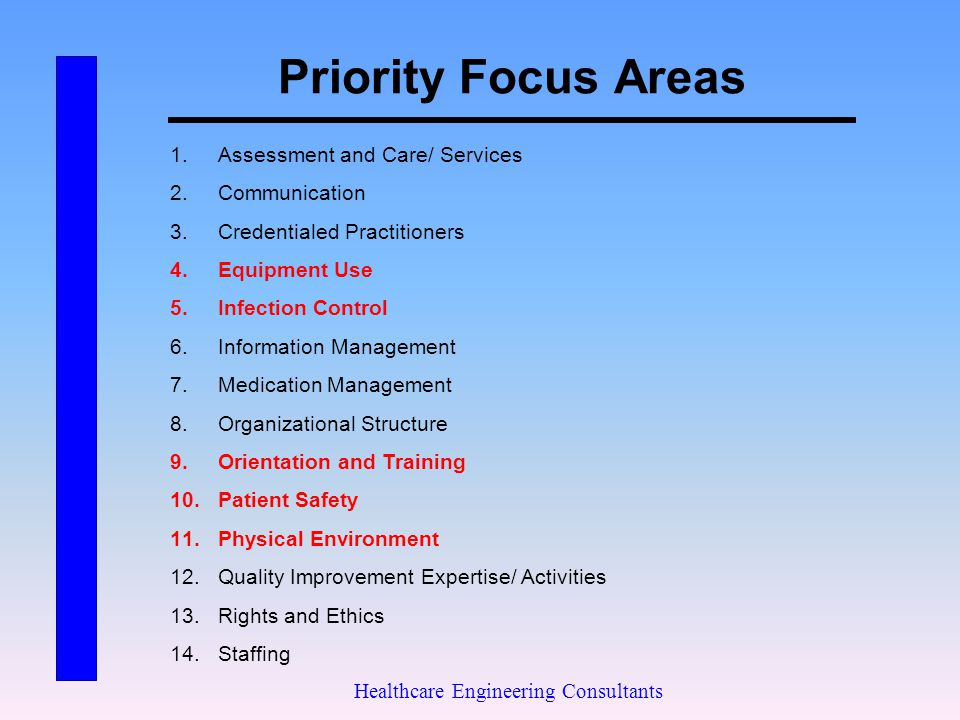 Priority Focus Areas Healthcare Engineering Consultants 1.Assessment and Care/ Services 2.Communication 3.Credentialed Practitioners 4.Equipment Use 5