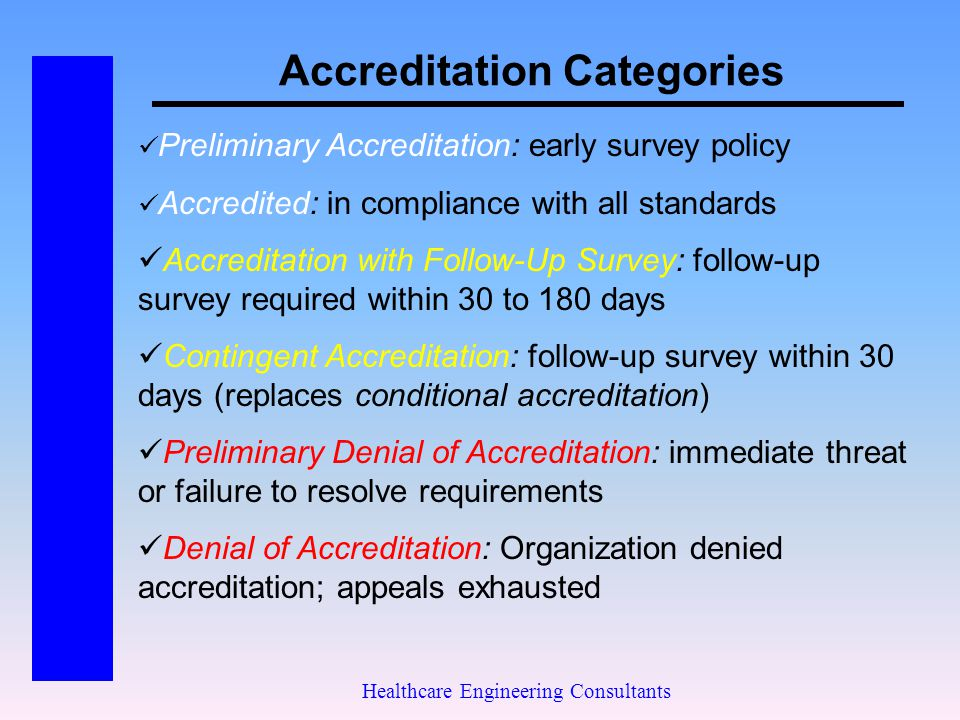 Accreditation Categories Healthcare Engineering Consultants Preliminary Accreditation: early survey policy Accredited: in compliance with all standard
