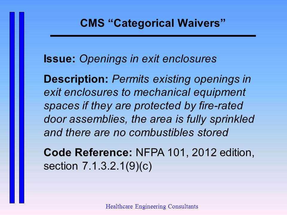 """CMS """"Categorical Waivers"""" Healthcare Engineering Consultants Issue: Openings in exit enclosures Description: Permits existing openings in exit enclosu"""