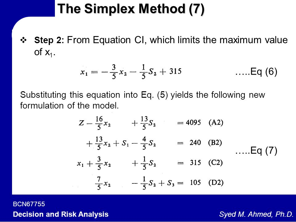 BCN67755 Decision and Risk Analysis Syed M. Ahmed, Ph.D. The Simplex Method (7)  Step 2: From Equation CI, which limits the maximum value of x 1. …..