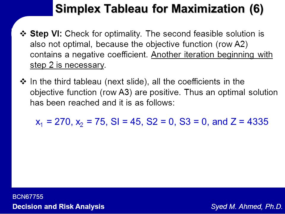 BCN67755 Decision and Risk Analysis Syed M. Ahmed, Ph.D. Simplex Tableau for Maximization (6)  Step VI: Check for optimality. The second feasible sol
