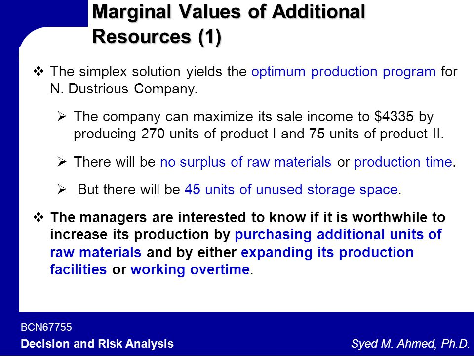 BCN67755 Decision and Risk Analysis Syed M. Ahmed, Ph.D. Marginal Values of Additional Resources (1)  The simplex solution yields the optimum product