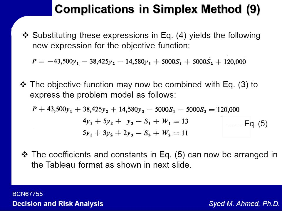 BCN67755 Decision and Risk Analysis Syed M. Ahmed, Ph.D. Complications in Simplex Method (9)  Substituting these expressions in Eq. (4) yields the fo
