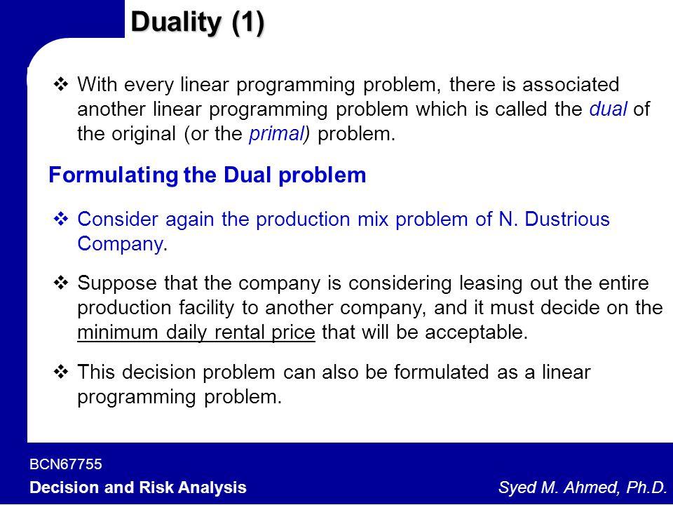 BCN67755 Decision and Risk Analysis Syed M. Ahmed, Ph.D. Duality (1)  With every linear programming problem, there is associated another linear progr