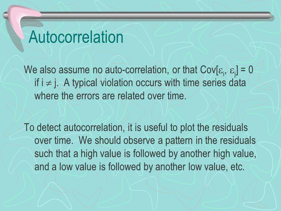 Autocorrelation We also assume no auto-correlation, or that Cov[  i,  j ] = 0 if i  j.