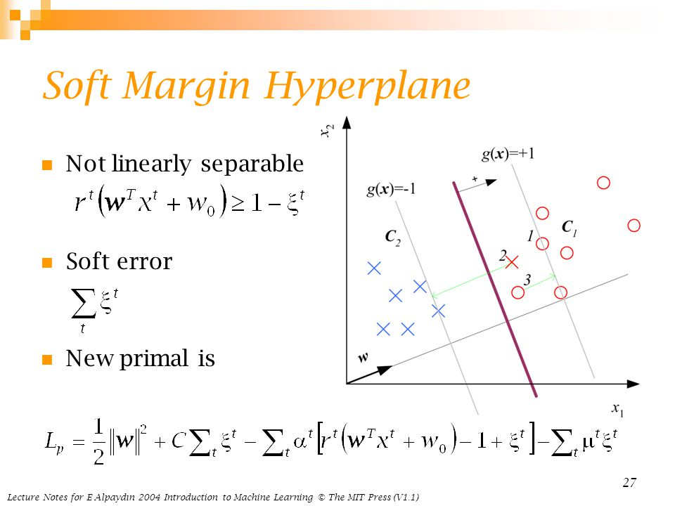 Lecture Notes for E Alpaydın 2004 Introduction to Machine Learning © The MIT Press (V1.1) 27 Soft Margin Hyperplane Not linearly separable Soft error