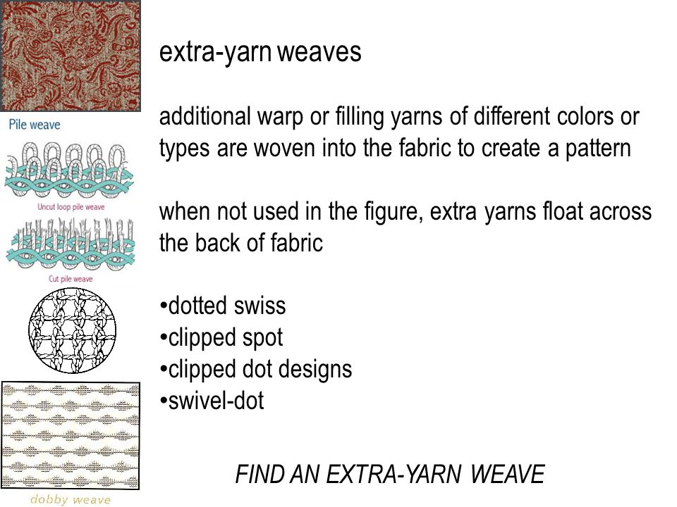 extra-yarn weaves additional warp or filling yarns of different colors or types are woven into the fabric to create a pattern when not used in the figure, extra yarns float across the back of fabric dotted swiss clipped spot clipped dot designs swivel-dot FIND AN EXTRA-YARN WEAVE