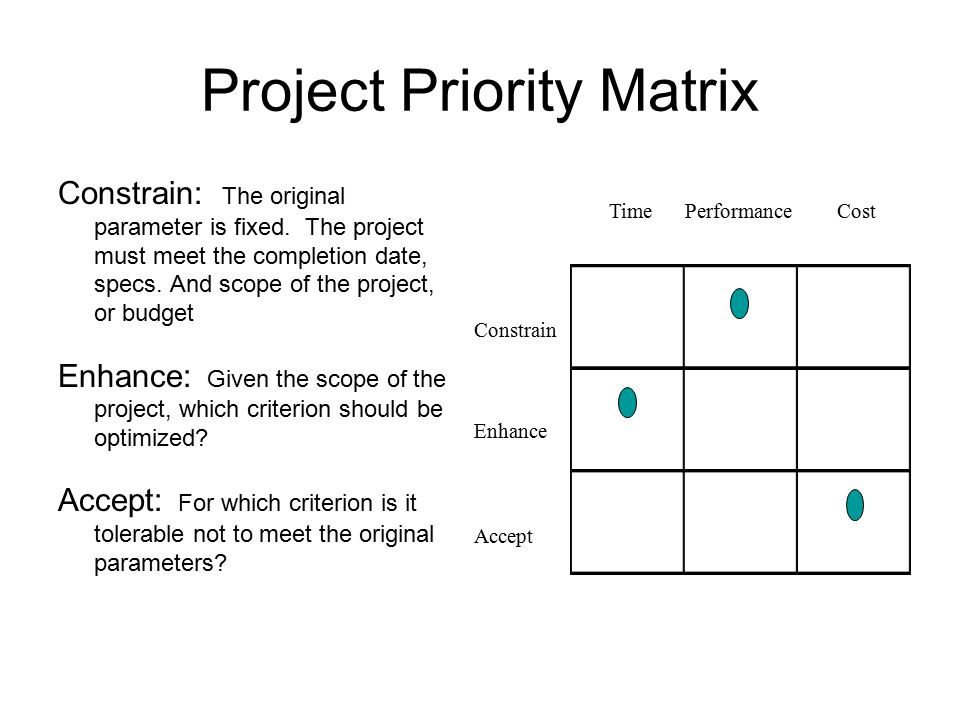 Project Priority Matrix Constrain: The original parameter is fixed.