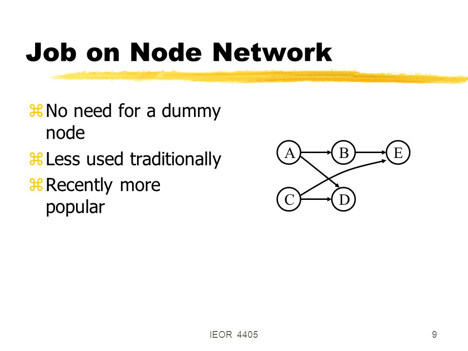 IEOR 44059 Job on Node Network ABE DC zNo need for a dummy node zLess used traditionally zRecently more popular