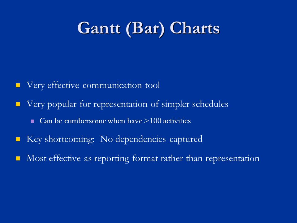 Gantt (Bar) Charts Very effective communication tool Very popular for representation of simpler schedules Can be cumbersome when have >100 activities Key shortcoming: No dependencies captured Most effective as reporting format rather than representation
