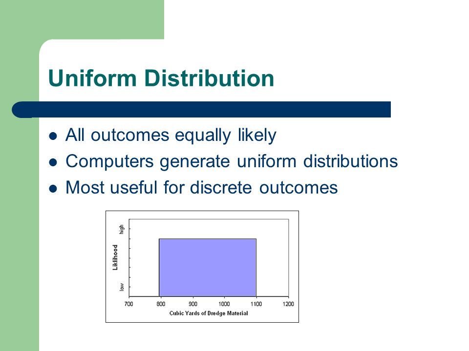 Uniform Distribution All outcomes equally likely Computers generate uniform distributions Most useful for discrete outcomes