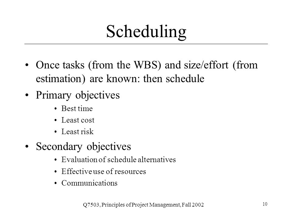 Q7503, Principles of Project Management, Fall 2002 11 Terminology Precedence: A task that must occur before another is said to have precedence of the other Concurrence: Concurrent tasks are those that can occur at the same time (in parallel) Leads & Lag Time Delays between activities Time required before or after a given task