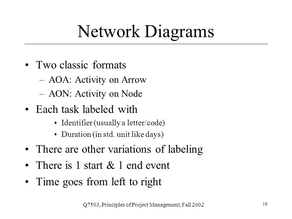 Q7503, Principles of Project Management, Fall 2002 19 Network Diagrams Two classic formats –AOA: Activity on Arrow –AON: Activity on Node Each task labeled with Identifier (usually a letter/code) Duration (in std.