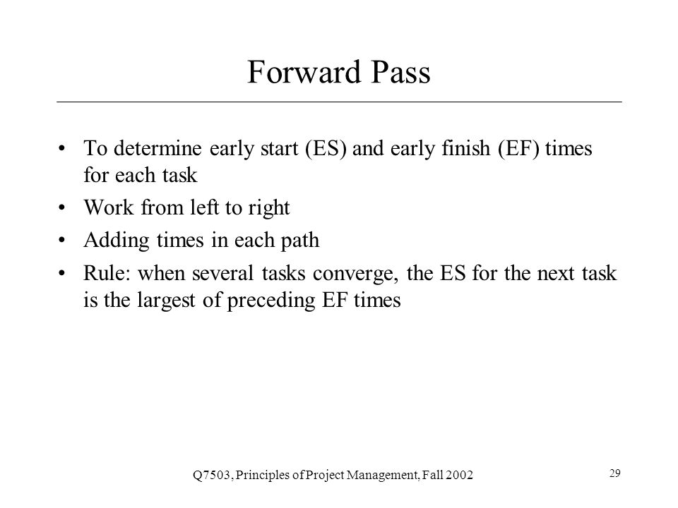 Q7503, Principles of Project Management, Fall 2002 30 Example Step 2