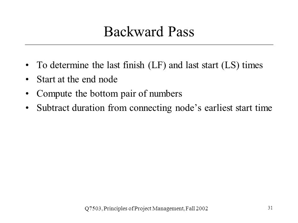 Q7503, Principles of Project Management, Fall 2002 32 Example Step 3