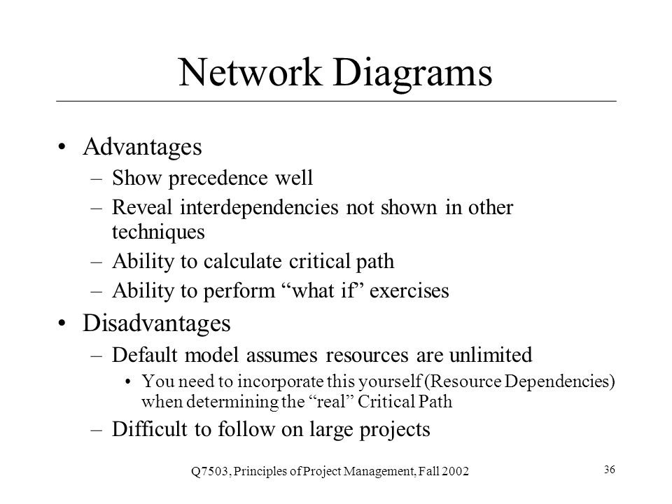 Q7503, Principles of Project Management, Fall 2002 36 Network Diagrams Advantages –Show precedence well –Reveal interdependencies not shown in other techniques –Ability to calculate critical path –Ability to perform what if exercises Disadvantages –Default model assumes resources are unlimited You need to incorporate this yourself (Resource Dependencies) when determining the real Critical Path –Difficult to follow on large projects
