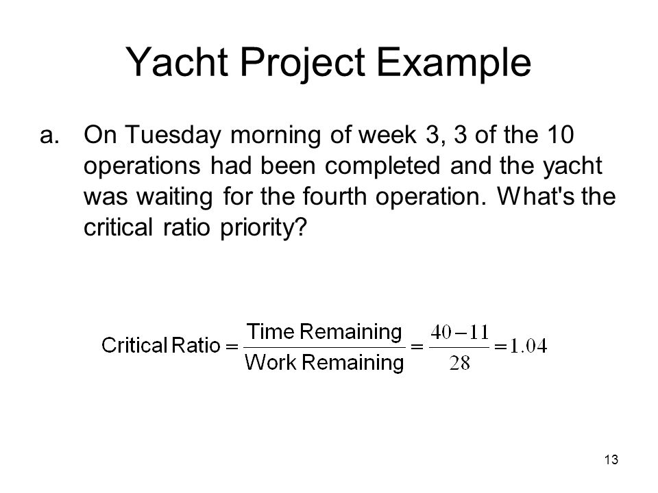 13 Yacht Project Example a.On Tuesday morning of week 3, 3 of the 10 operations had been completed and the yacht was waiting for the fourth operation.