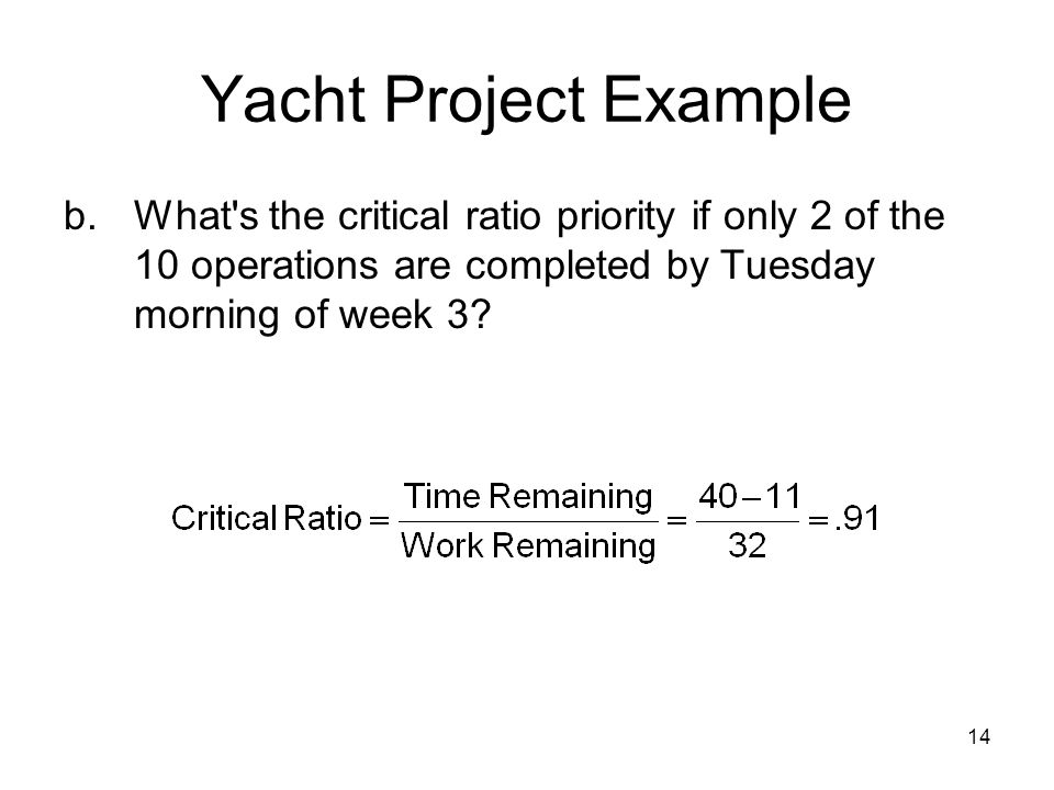 14 Yacht Project Example b.What's the critical ratio priority if only 2 of the 10 operations are completed by Tuesday morning of week 3?