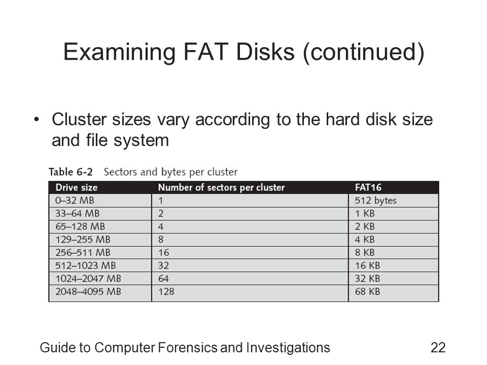 Guide to Computer Forensics and Investigations22 Examining FAT Disks (continued) Cluster sizes vary according to the hard disk size and file system