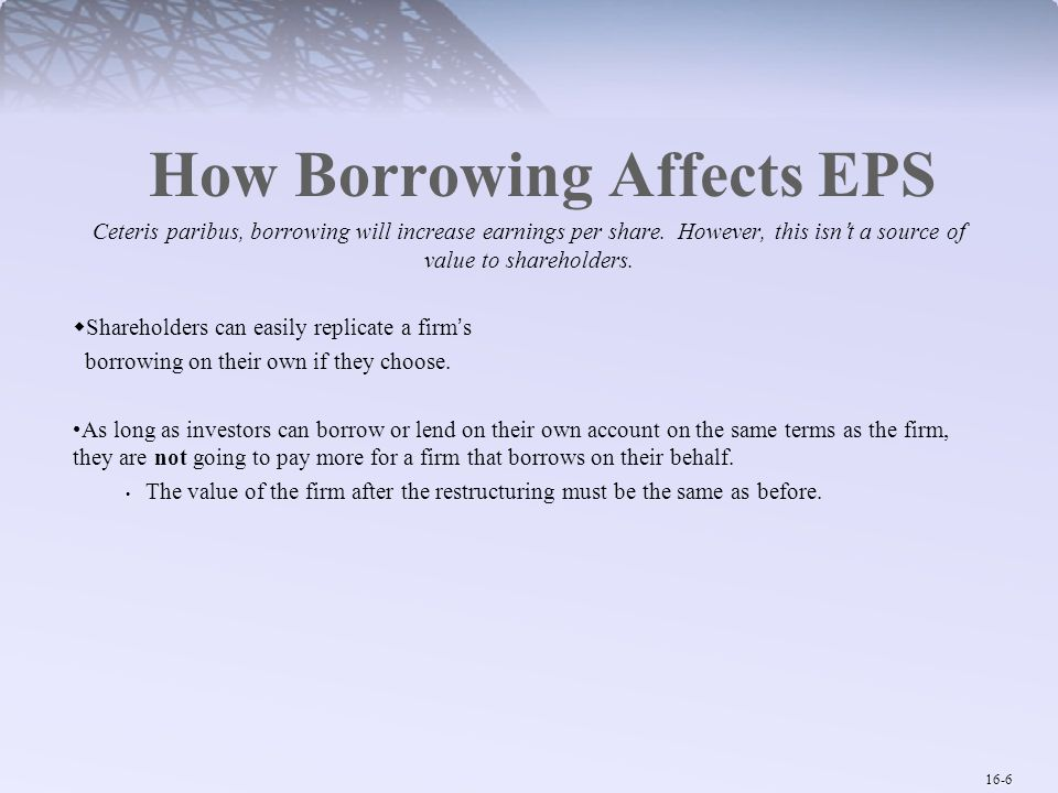 16-7 How Borrowing Affects Risk and Return  Debt financing does not affect the operating risk of the firm.