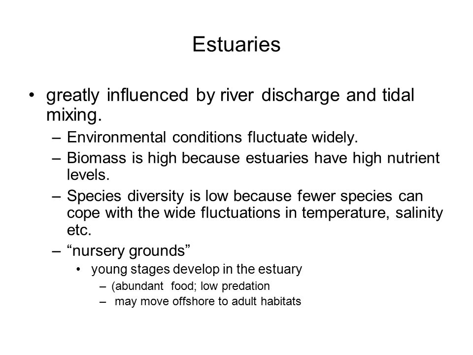 Estuaries greatly influenced by river discharge and tidal mixing. –Environmental conditions fluctuate widely. –Biomass is high because estuaries have
