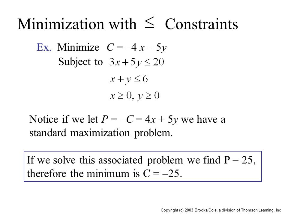 Copyright (c) 2003 Brooks/Cole, a division of Thomson Learning, Inc Minimization with Constraints Ex. Minimize C = –4 x – 5y Subject to Notice if we l