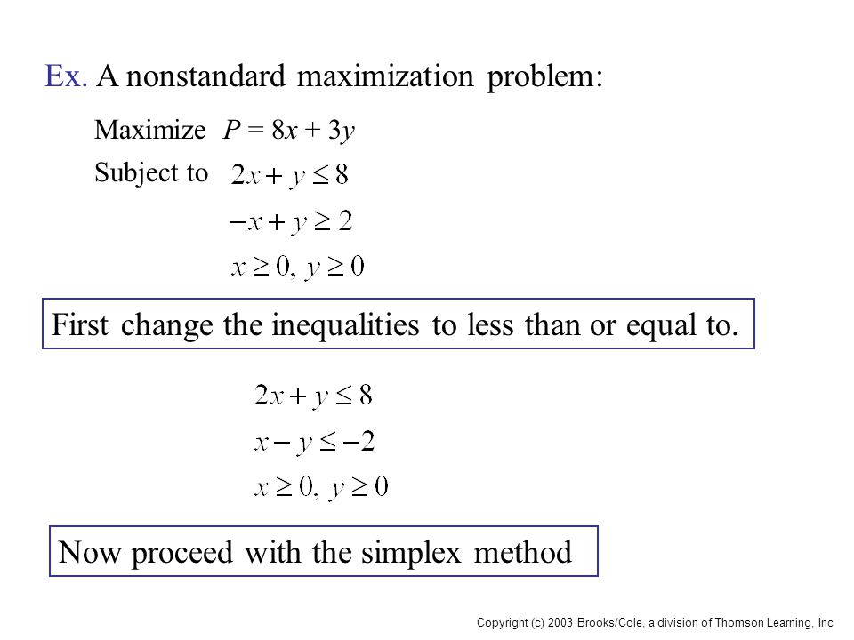 Copyright (c) 2003 Brooks/Cole, a division of Thomson Learning, Inc Maximize P = 8x + 3y Subject to Ex. A nonstandard maximization problem: First chan