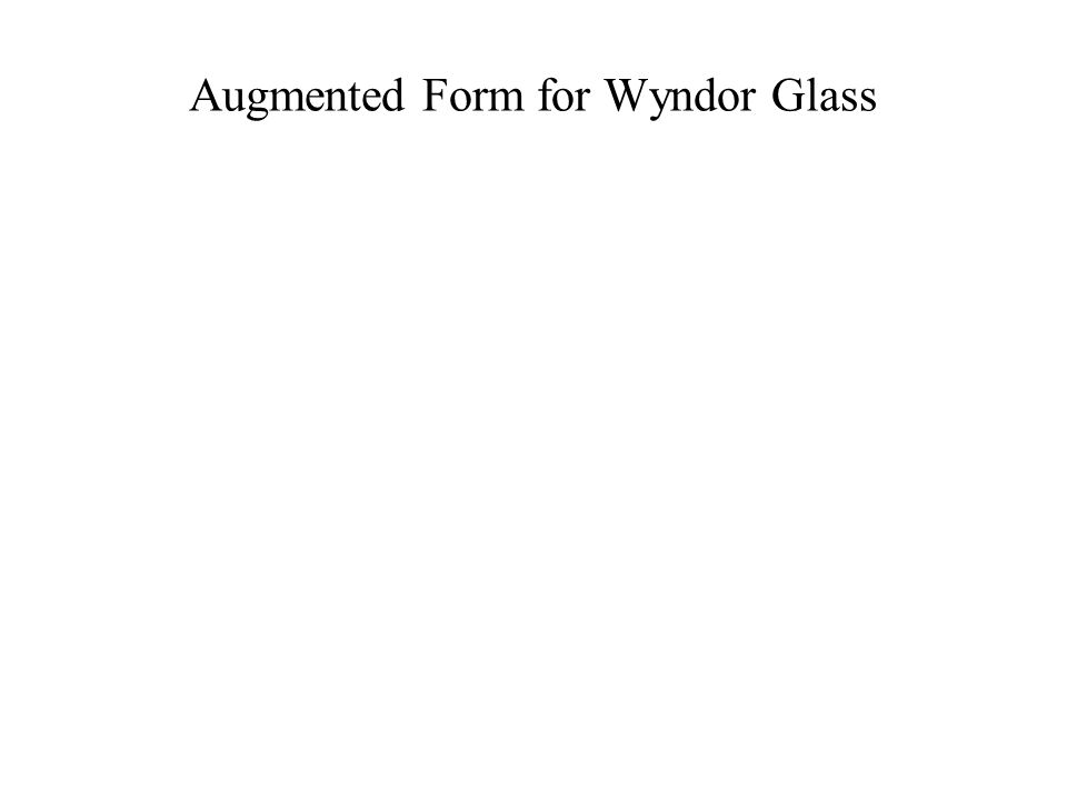 Augmented Form for Wyndor Glass